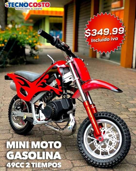 MINI MOTOS modelo tipo pista, con motor a gasolina de 2 tiempos, 49 cc,