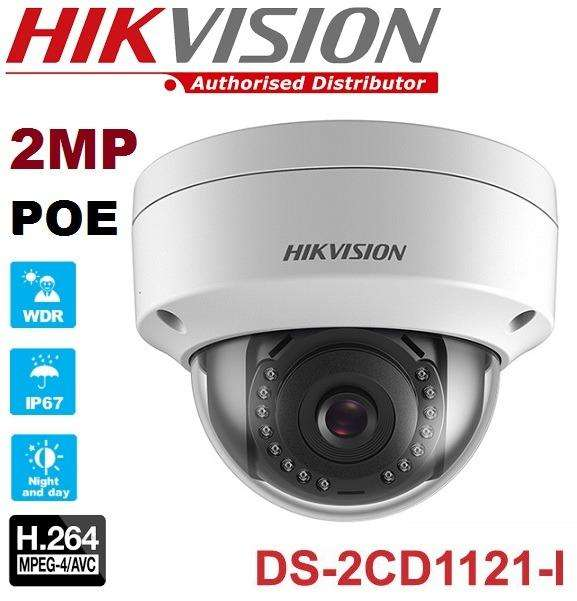 CAMARA IP DE VIGILANCIA HD TIPO DOMO HIKVISION DS2CD1121I 2MP IR 1080P 2.8mm IP67 DIA Y NOCHE POE