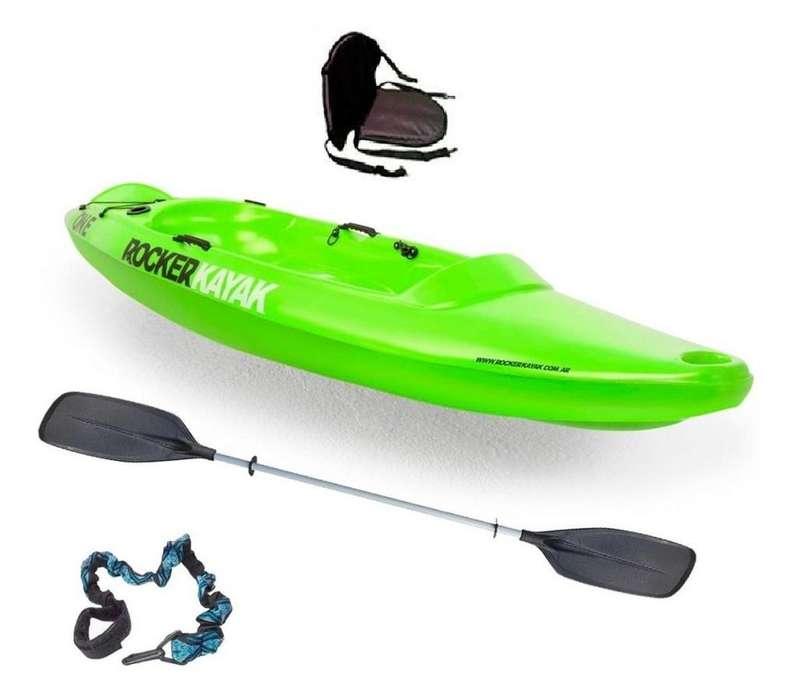 Kayak Rocker One Usado - Remo pala doble cucharita Rocker - Asiento universal de tela con respaldo - Pita salva-remo