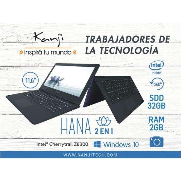ULTRABOOK MINI NOTEBOOK 11.6 TABLET 2 EN1 SSD 32GB, MEMORIA RAM 2GB WINDOWS 10 Kanji Hana Cod.1912