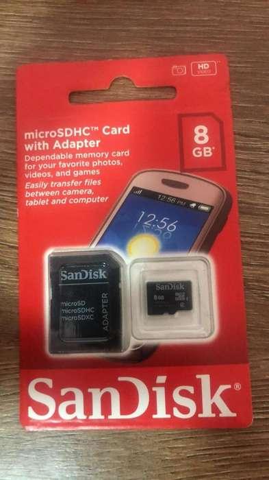 Memoria Micro Sandisk 8Gb Clase 4 Original Sellado Nuev