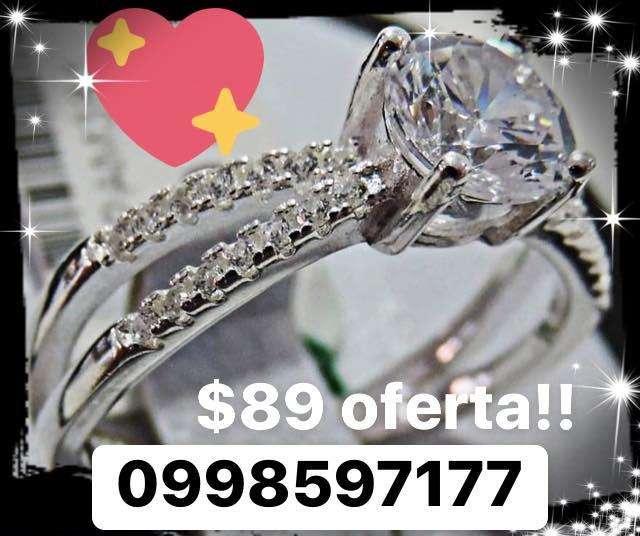 Oferta! Anillos de Compromiso Plata Italiana y diamantes zircones