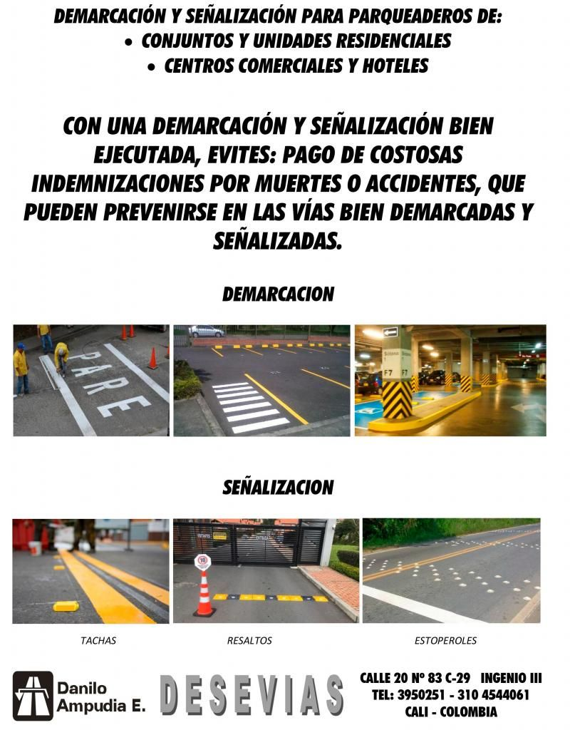 DEMARCACIÓN Y SEÑALIZACIÓN PARA PARQUEADEROS DE: CONJUNTOS Y UNIDADES RESIDENCIALES C COMERCIALES Y HOTELES