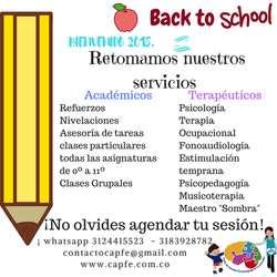 Clases particulares, asesoria de tareas, refuerzo educativo, dificultades de aprendizaje, psicopedagogía a Domicilo!