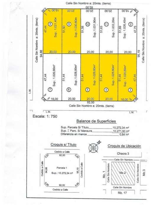 LOTES DE 20 x 51 FINANCIADOS HASTA 72 CUOTAS LAS CORTADERAS II - TOAY EXCELENTES LOTES DE 1020 M2