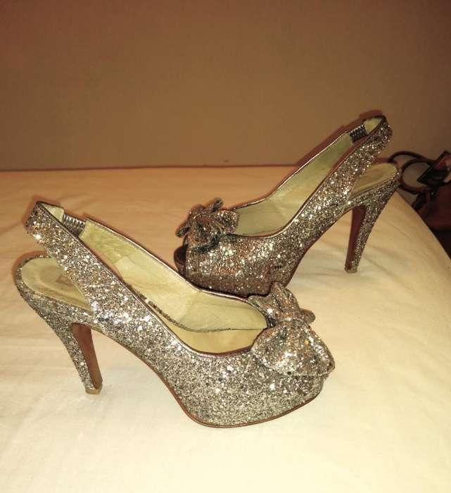 Zapato 37 Sandalia Glitter Fiesta Cuero