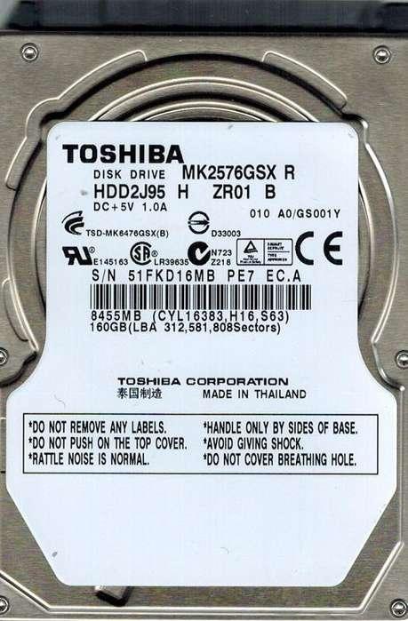 "HD o Disco Duro Sata 160 Gb 2.5"" Toshiba para PS3 SLIM"