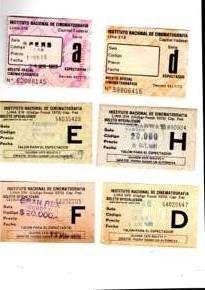 Seis entradas de Cine de la década del 80, buen estado.