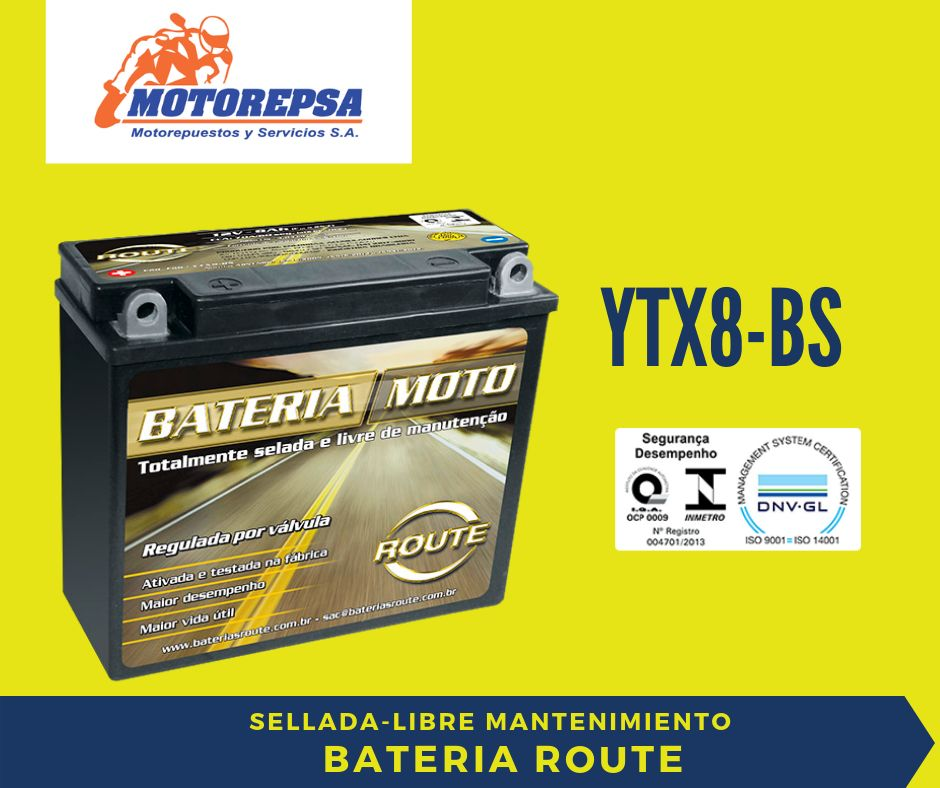 Bateria para MOTO ROUTE YTX8BS / 12v7Ah