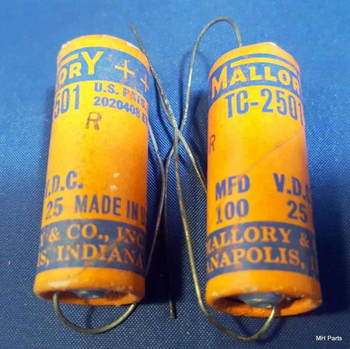 Capacitores electrolíticos Mallory TC2501 100 mfd 25 VDC Hecho en EE. UU.