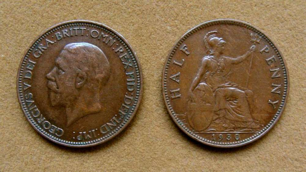 Moneda de 1/2 penique Gran Bretaña año 1930