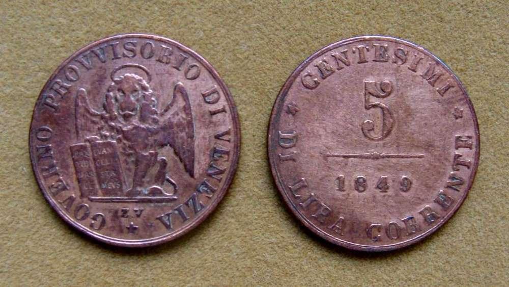 Moneda de 5 centésimos, Venecia, Italia 1849
