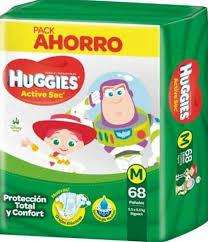 PAÑALES HUGGIES ACTIVE SEC Talle Mx68 pack 4 paquetes