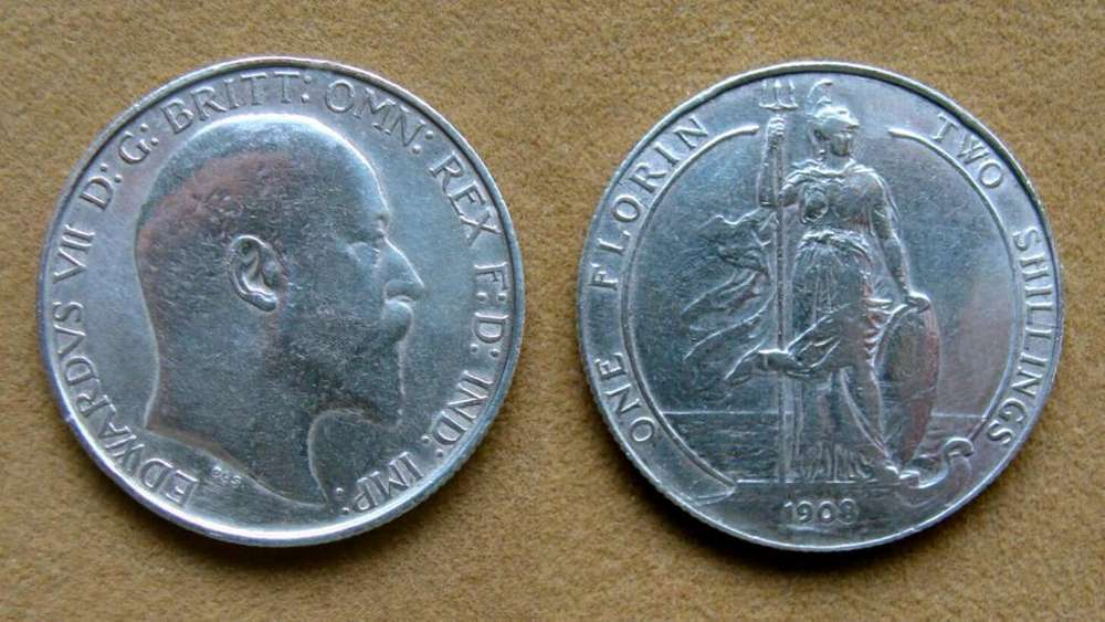Moneda de 1 florín de plata Gran Bretaña 1908