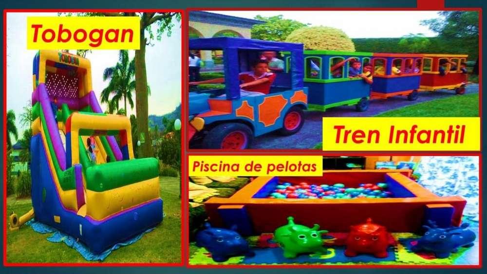 fiestas infantiles /tren infantil / tobogan infantil / piscina de pelotas /peloteros / eventos infantiles /gusanitos