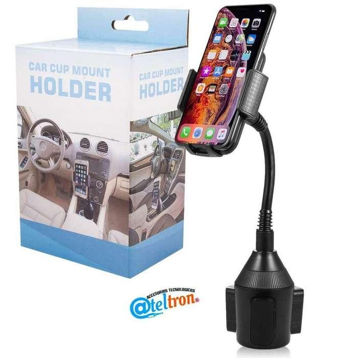 Soportes de auto para celular iPhone Smartphone universal ajustable a cualquier portavasos