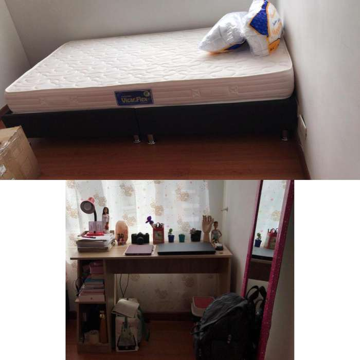 Combo base <strong>cama</strong> sencilla 2 almohadas escritorio