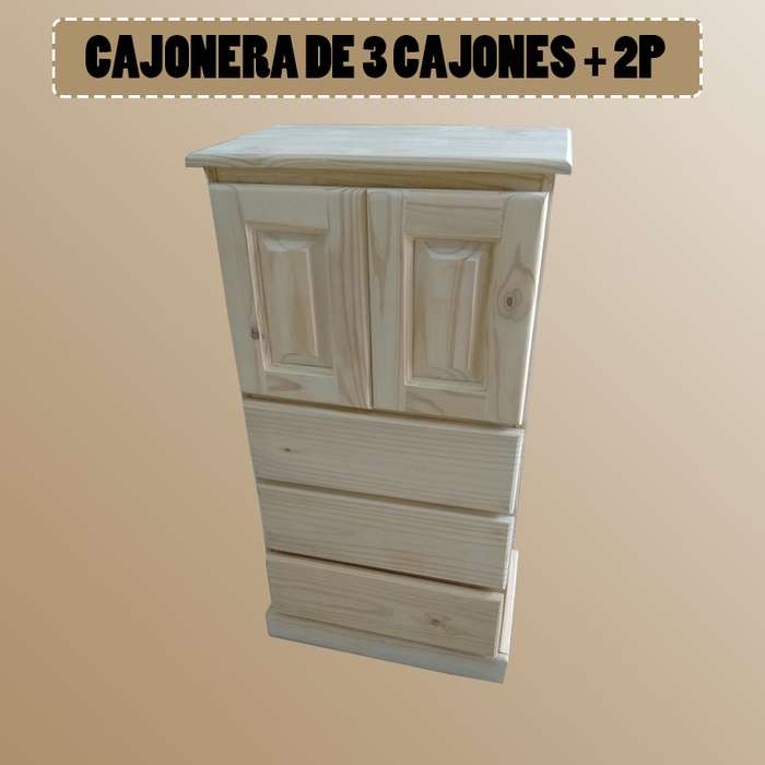 CAJONERA DE 3 CAJONES 2 PUERTAS