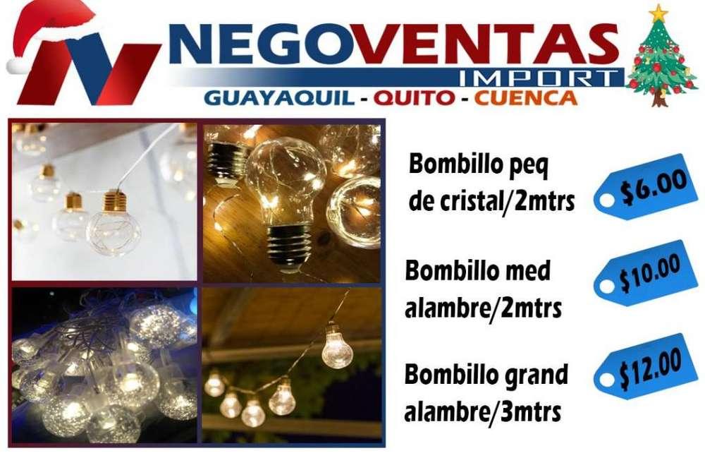 LUCES GUIRNALDAS TIPO FOCO NAVIDEÑO DE 2 MTS Y 3 MTS