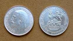 Moneda de 1 chelín de plata Gran Bretaña 1918