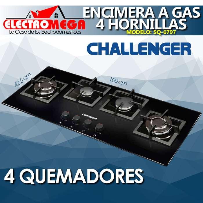 Encimera A Gas Challenger Vidrio 4 Quemadores Empotre 100cm