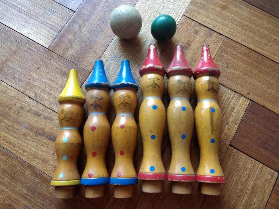 Bolos Antigüo Juego De Bowling en Madera . Para Niños Coleccionistas