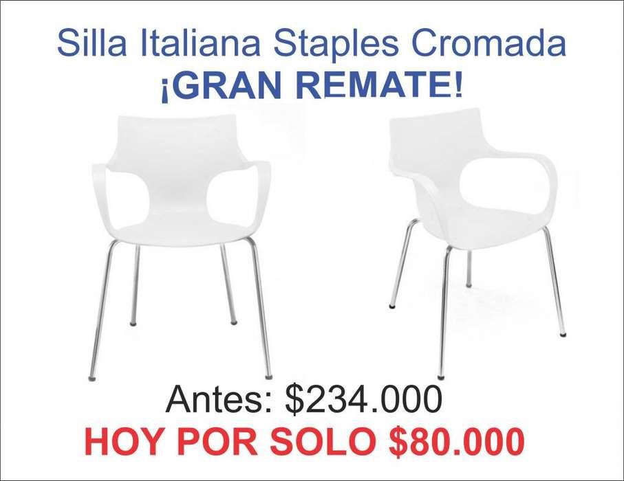 <strong>silla</strong> Italiana Staples Cromada para escritorio o comedor ¡GRAN REMATE!