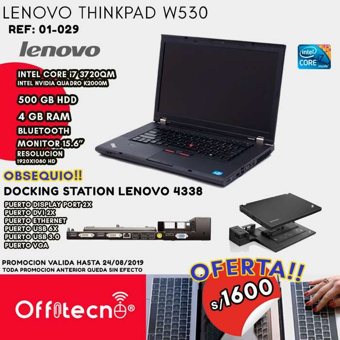 LAPTOP LENOVO THINKPAD W530, INTEL CORE I7 3720QM, 4GB RAM, 500GB HDD