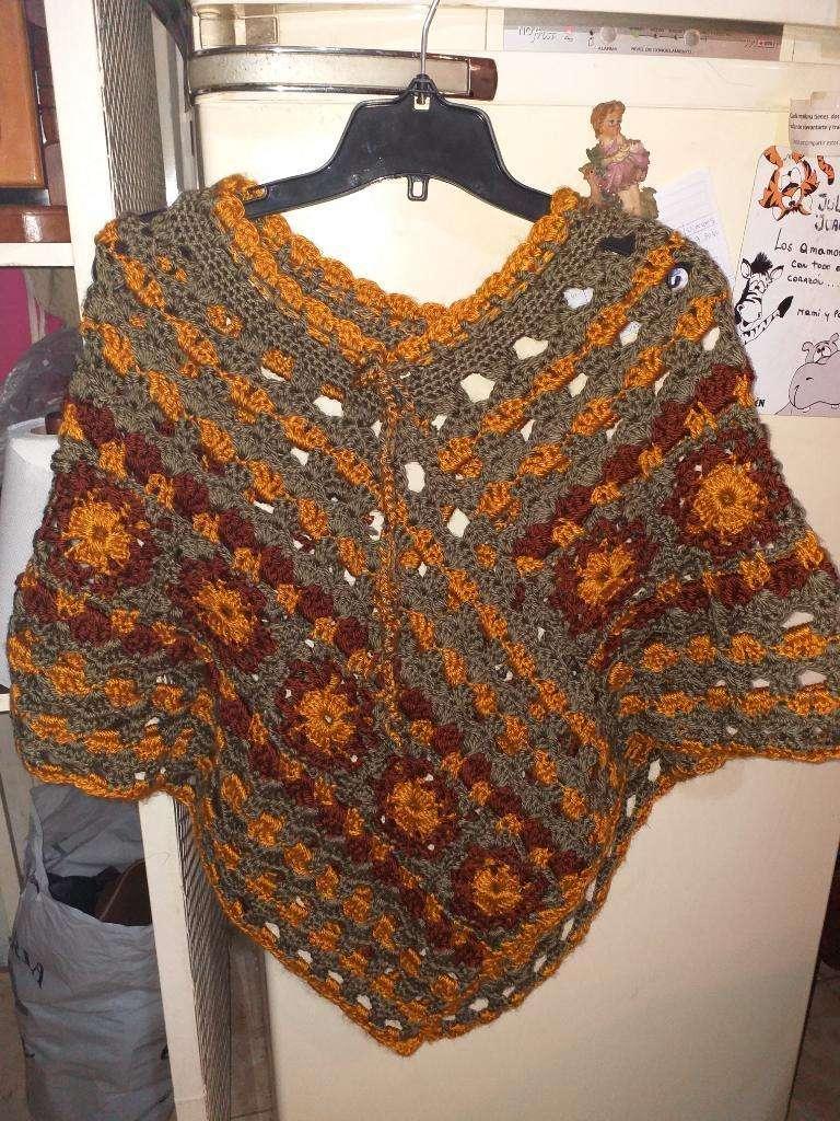 Poncho Tejido Crochet Rosario