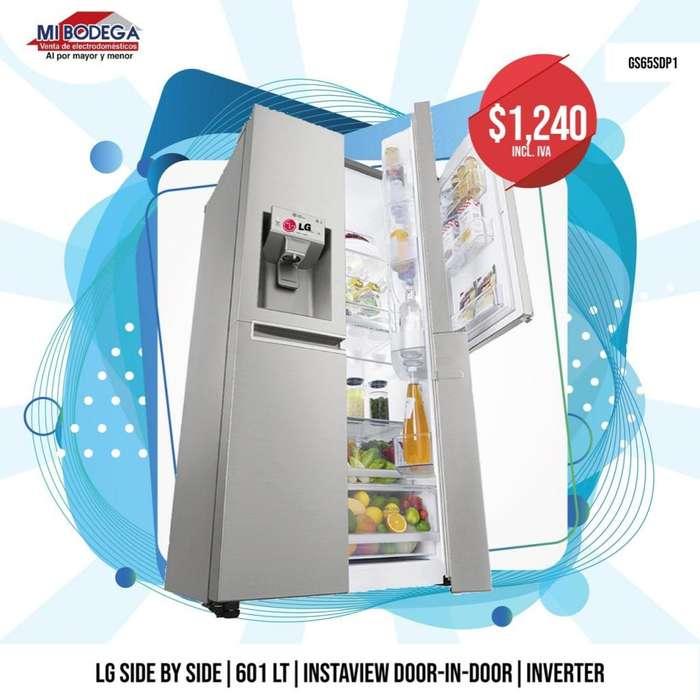 Refrigeradora Lg Gs65sdp1 Door In Door Cromada 20 Pies 601 litros.