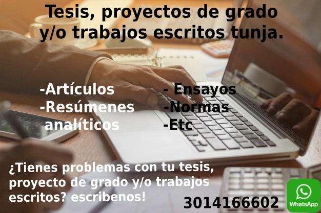 Trabajos escritos y proyectos de grado en Tunja.