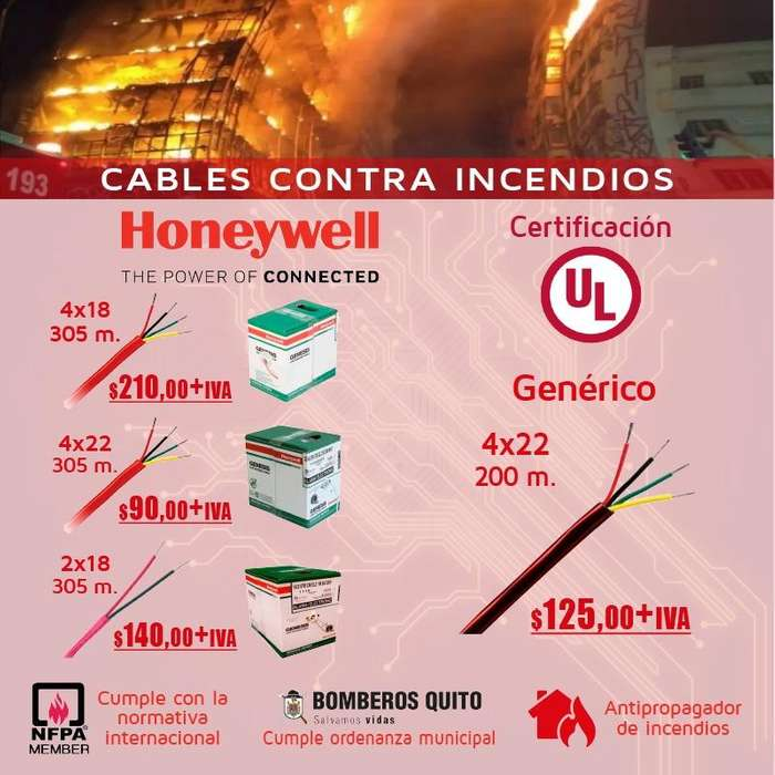 CABLE ANTIFLAMA/CABLE CONTRA INCENDIOS 4X22/2X18/4X18 CABLES ELECTRICOS