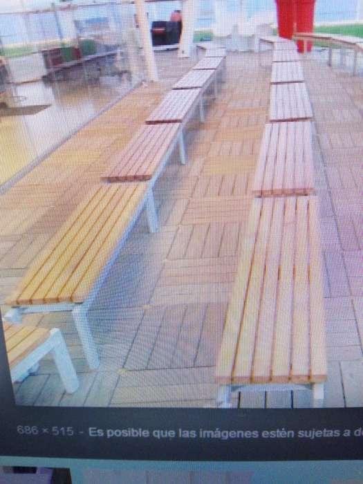 Ganga...Bancas exterior larga madera metal las dos