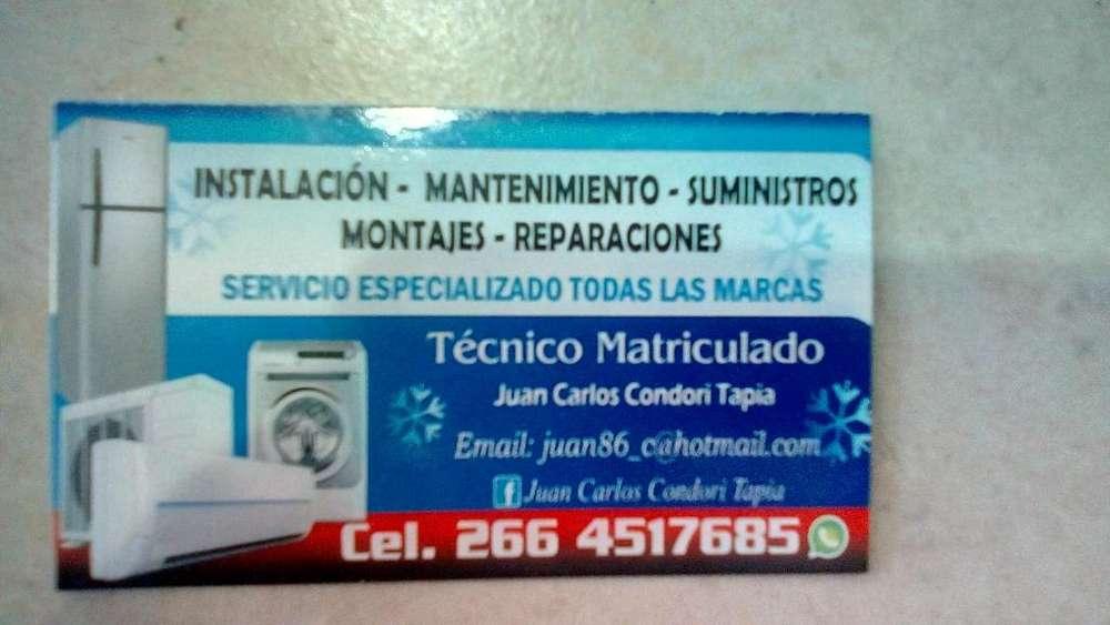 TECNICO EN REFRIGERACION Y AIRE ACONDICIONADO CEL. 2664517685