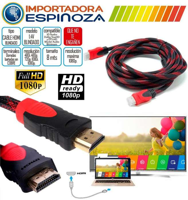 Cable Hdmi Blindado 8 Metro 1.4 V Soporte 3d 1080p Ferritas