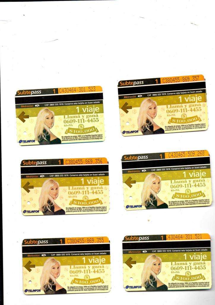 Seis tarjetas subtepass Susana Gimenez, usadas.