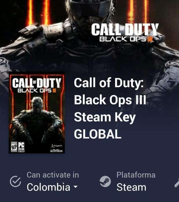 Código del juego Call of Duty Black Ops lll.