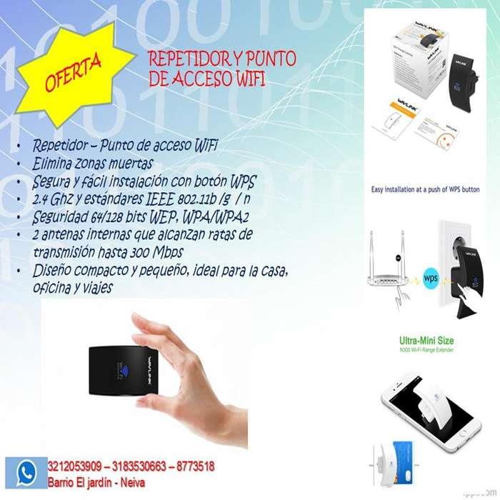 Repetidor y punto de acceso WiFi 2.4 Ghz 300 Mbps
