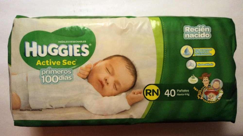 Pañales Huggies active sec RN hasta 4 kg x 40 u