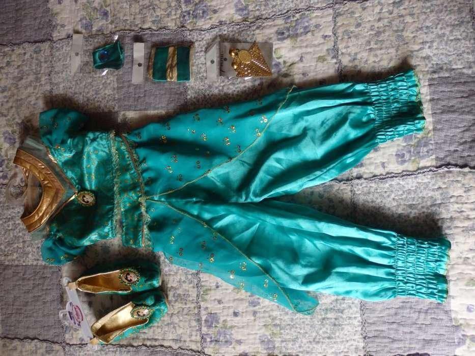 disfraz niña jasmin aladin talla 3 con accesorios