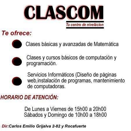 CURSOS Y CLASES PERSONALIZADAS COMPUTACIÓN Y MATEMÁTICA