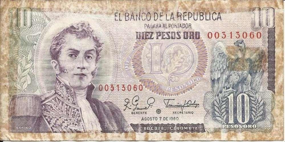 se vende billete de 10 pesos oro