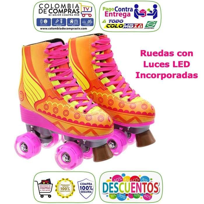 Patines Tradicionales Soy Luna Rayo de Sol Luces Led 4 Ruedas Tallas Nuevos, Originales, Garantizados...