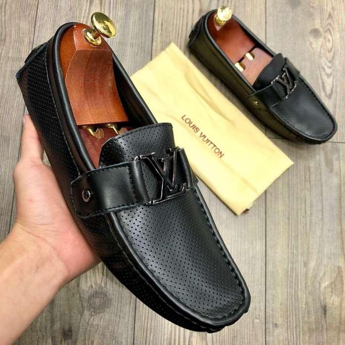 3808251d mocasines zapatos louis <strong>vuitton</strong> negros hebilla negra cuero  para