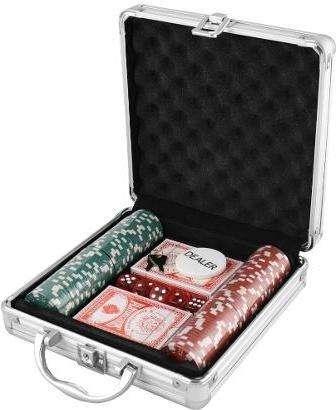 Set Poker 100 Piezas Maleta Metálica Juego De Azar Dados