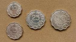 Monedas de 10, 15, 25 y 50 céntimos Paraguay 1953