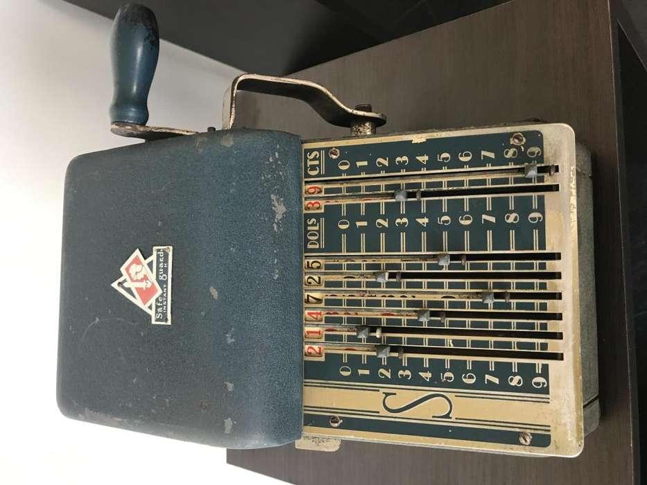 Maquina Numeradora de Cheques Retro Antigua Vintage 1927 Safeguard Instant