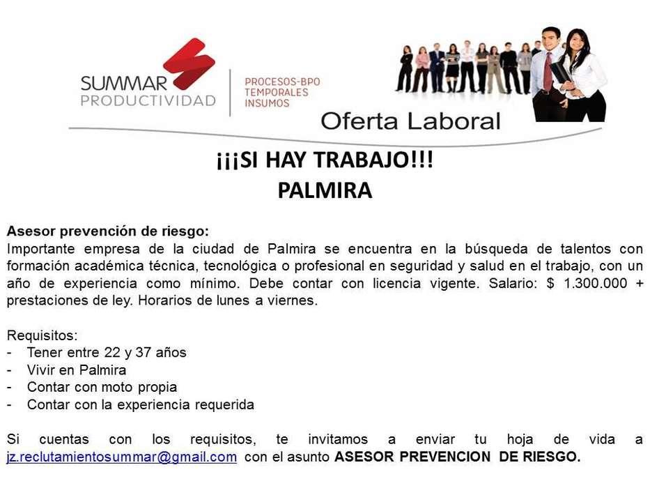 ASESOR PREVENCION DE RIESGOS PALMIRA