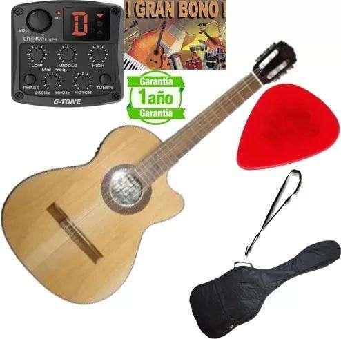 <strong>guitarra</strong> Electroacustica aire artesanal Tapa Pino Micrófono Gt4 Accesorios