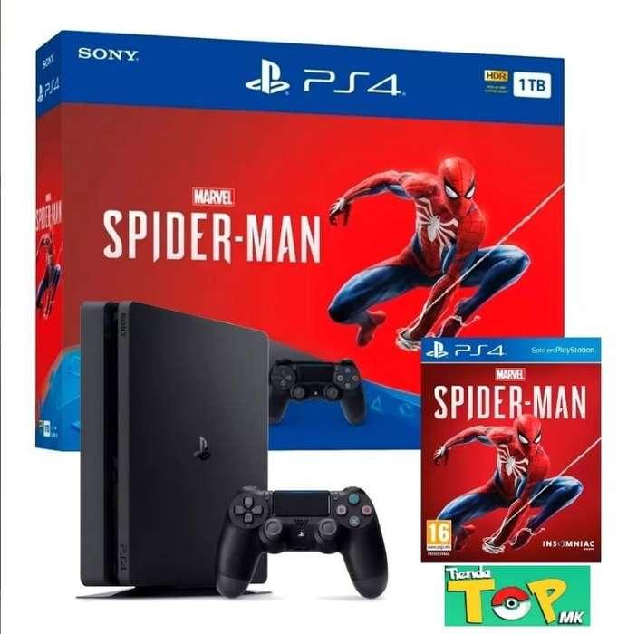 PS4 SLIM 1TB, BUNDLE MARVEL'S SPIDER MAN, NUEVA SELLADA, TIENDATOPMK